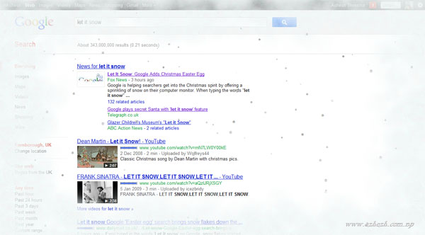 Google Christmas Easter Egg let it snow